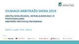 VILNIAUS ARBITRAŽO DIENA 2019 - Spalio 17 d., Vilniuje